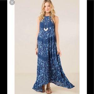Francesca's Clementine Floral Crochet Maxi Dress